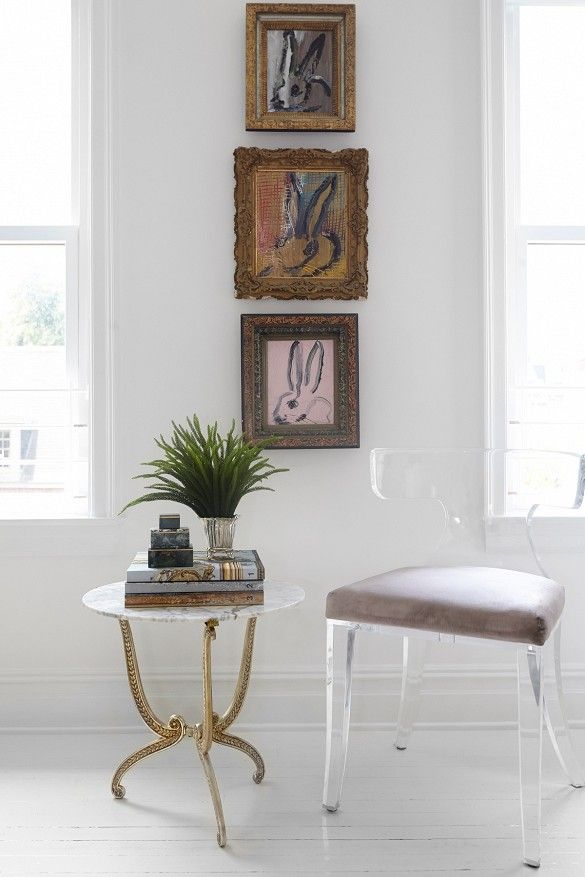 Lucite klismos chair with marble and gold side table bunny portraits hunt all n email artist