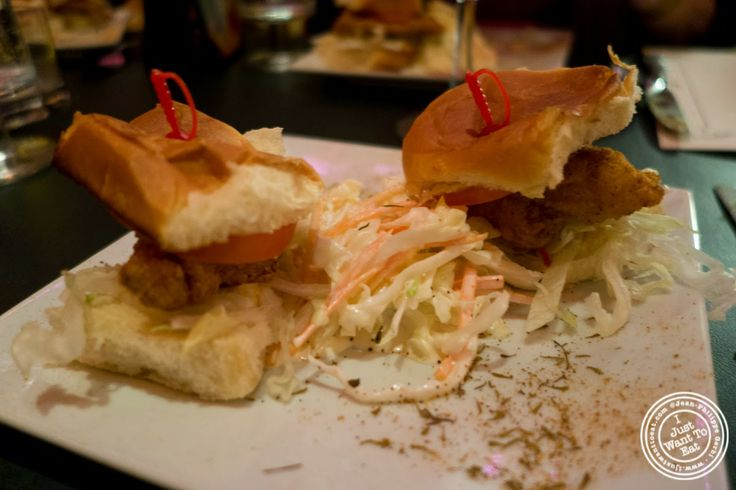 image of shrimp and catfish Po'Boy at MASQ New Orleans inspired cuisine in NYC, New York