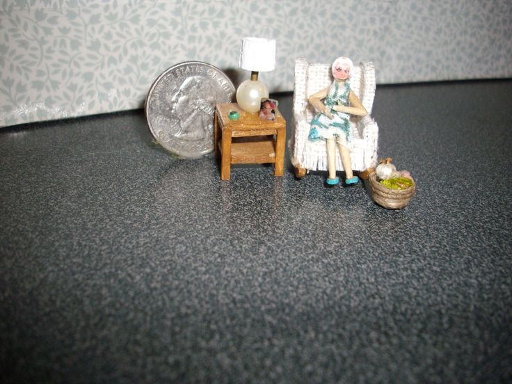 "*NEW* 1/4"" Scale Overstuffed Chair With Granny Knitting and Table & Lamp 