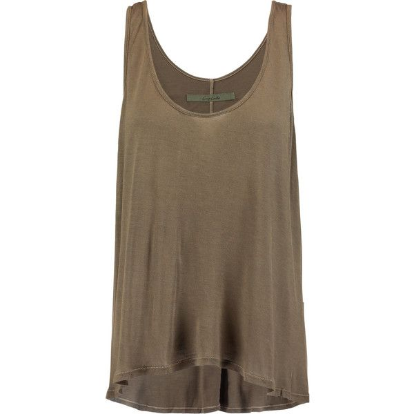 ENZA COSTA Stretch-jersey tank (450 DKK) ❤ liked on Polyvore featuring tops, army green, brown tank, army green top, loose fit tank top, loose tank and loose tank top