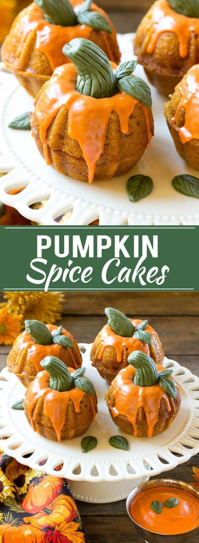 Pumpkin Spice Cake Recipe | Pumpkin Cake | Easy Pumpkin Cake | Thanksgiving Dessert Awe! These mini bunds cakes-turned pumpkin spice are adorable and perfect for a fall party or family dinner.
