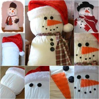 Pillow-Snowman-wonderful DIY. f