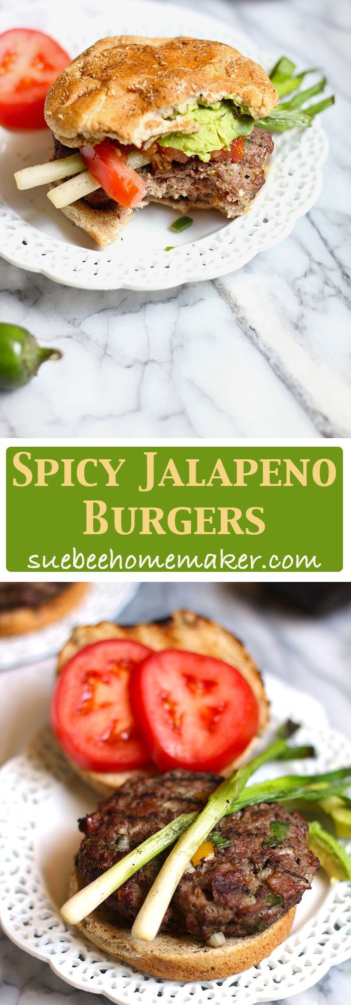 Spicy Jalapeño Burgers combine ground sirloin with diced onions, bell peppers, and jalapeño peppers, making these moist and moderately spicy!