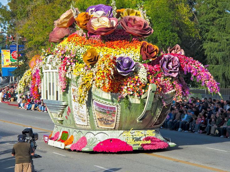Rose Parade ~ Typical Float...covered with fresh flowers.