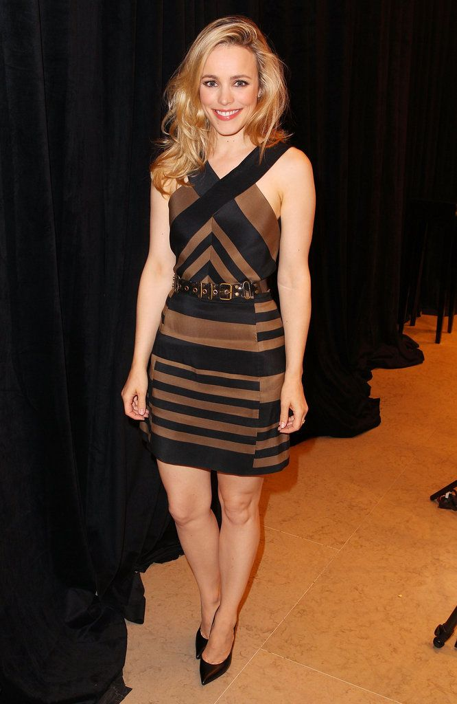 Rachel McAdams: Rachel McAdams stopped by the Variety studio in a striped black and brown dress, which gave her otherwise low-key look a dynamic twist.