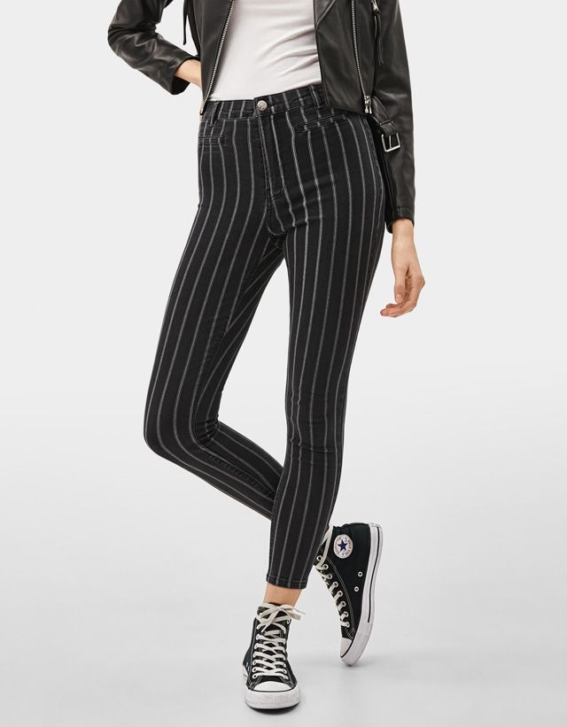 Sobrecamisa Efecto Piel Novedades Bershka Colombia Skinny Trousers Bershka Outfit Trousers
