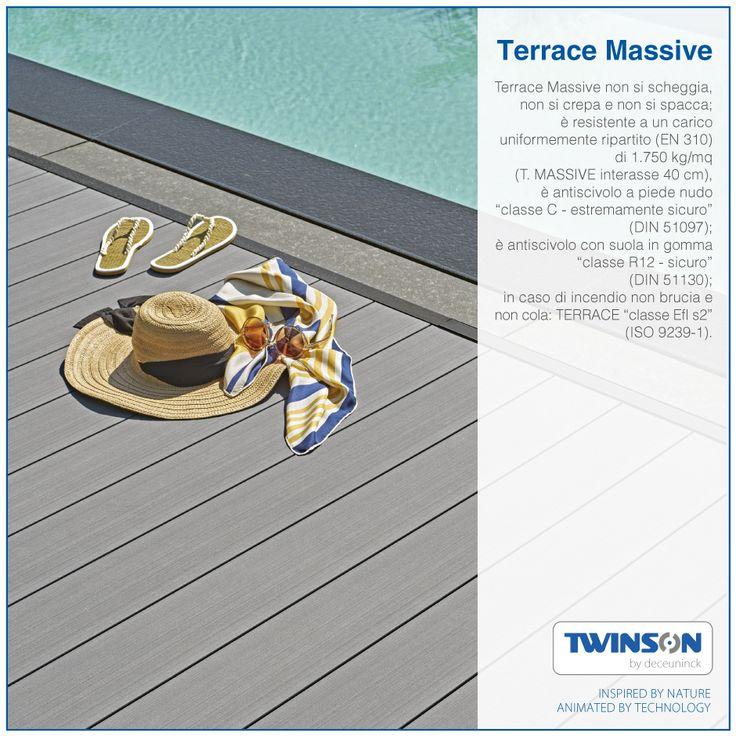 """Terrace Massive non si scheggia, non si crepa e non si spacca; resistente a un carico uniformemente ripartito (EN 310) di 1.750 kg/mq (T. MASSIVE interasse 40 cm); è antiscivolo a piede nudo """"classe C - estremamente sicuro"""" (DIN 51097); è antiscivolo con suola in gomma """"classe R12 - sicuro"""" (DIN 51130); in caso di incendio non brucia e non cola: TERRACE """"classe Efl s2"""" (ISO 9239-1).  #Twinson #antiscivolo #ignifugo #pavimento #resistente"""
