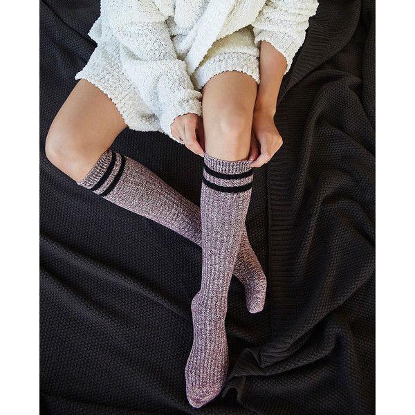 Gina Hoisery Ltd./gina Group  Marled Striped Knee-High Tube Socks ($8.90) ❤ liked on Polyvore featuring intimates, hosiery, socks, burgundy, wet seal, marled socks, striped tube socks, knee length socks, knee high socks and stripe tube socks