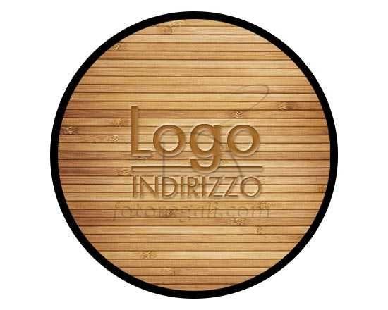Zerbino rotondo in gomma con grafica effetto legno