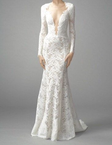 Lace wedding gown open back  fitted wedding by AffordableClothing1