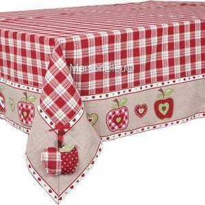 Linda toalha de mesa xadrez com macãs!