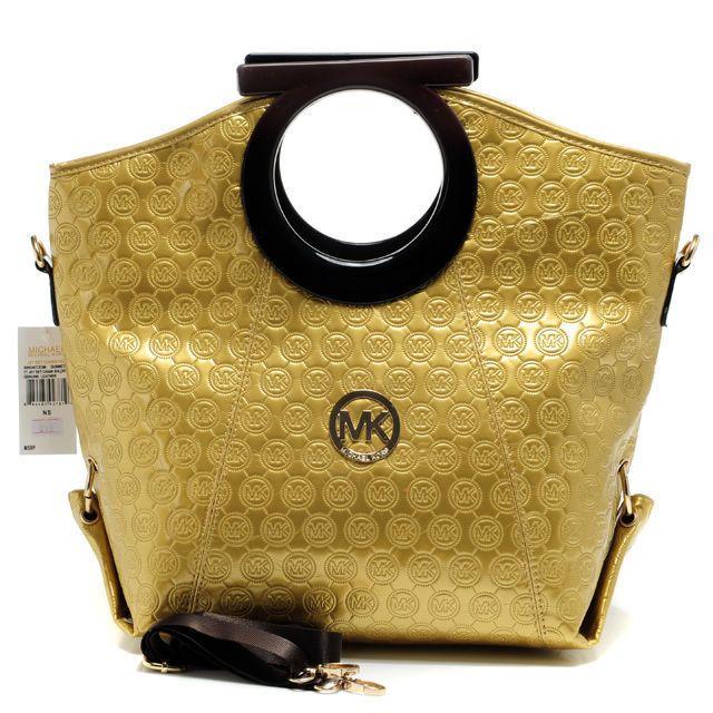 MICHAEL KORS : Michael Kors Logo-Print Large Gold Clutches