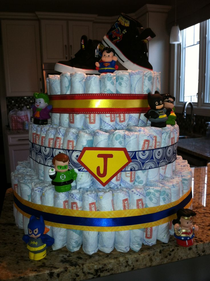 superhero diaper cake baby shower pinterest diaper cakes