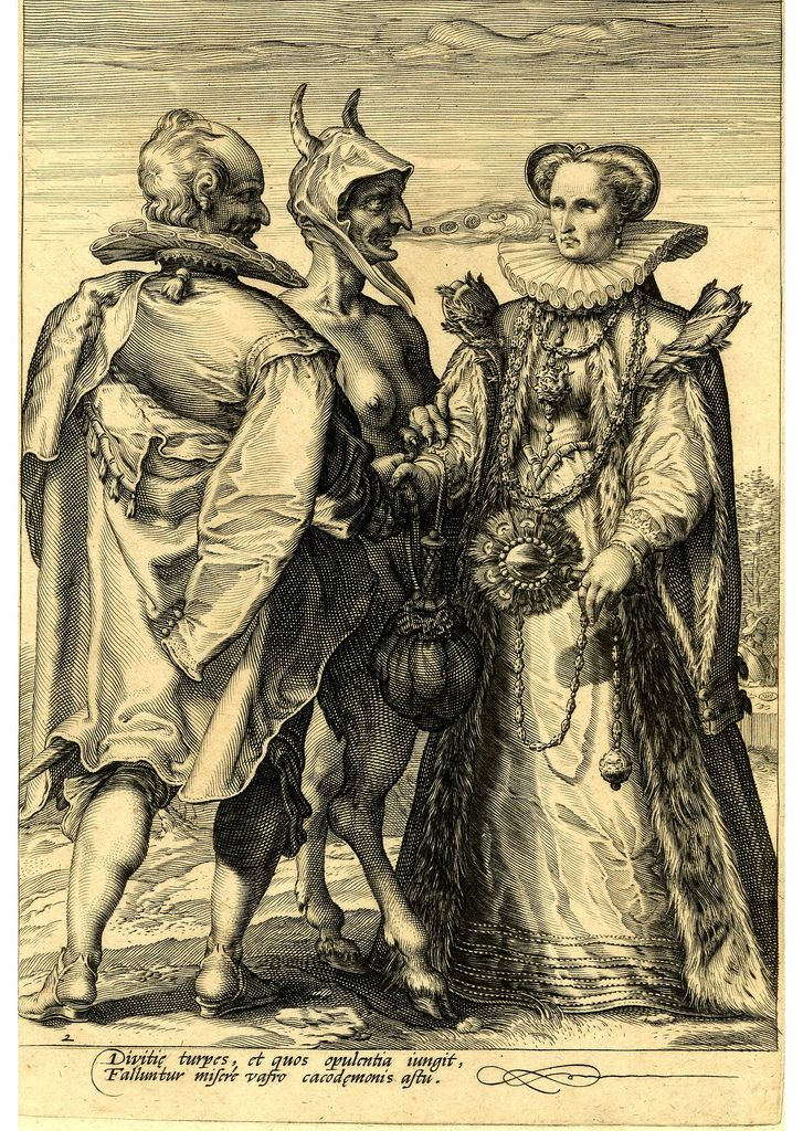 Satan, with a female breast and a goat legs, stands between a finely attired couple who face each other and hold hands. - Engraving made by Jan Saenredam after Hendrik Goltzius, Holland, 1595 (circa).