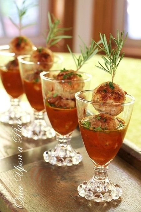 Once Upon a Plate: Heathier Turkey Mini-Meatballs with Smoked Tomato Sauce