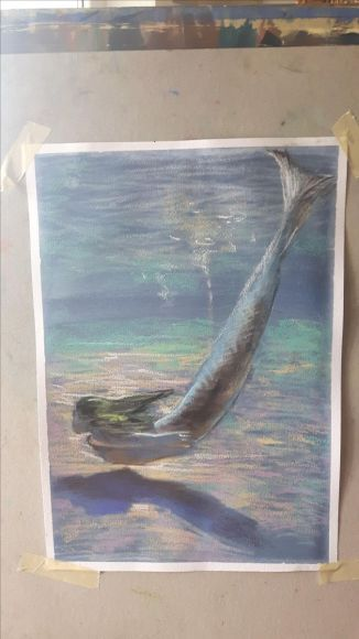 Under water  (from Naiada series) pastel drawing