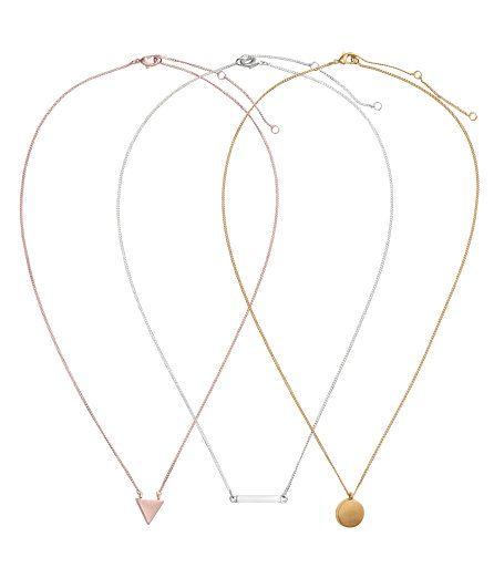 Check this out! Fijne, in lengte verstelbare schakelkettingen van metaal met elk een hangertje van geborsteld metaal. Lengte 45,5-52 cm. – Ga naar hm.com om meer te bekijken.