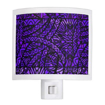 Watercolor Stained Glass Abstract Pattern Purple Night Light - watercolor gifts style unique ideas diy
