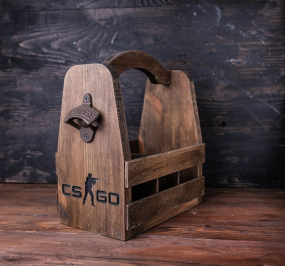 Personalized Wood Beer Carrier with bottle opener by GoodWoodGift