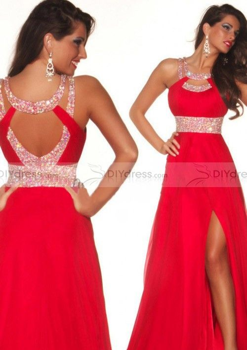 2014 Sexy A Line Scoop Beaded Red Chiffon Open Back Prom Dresses