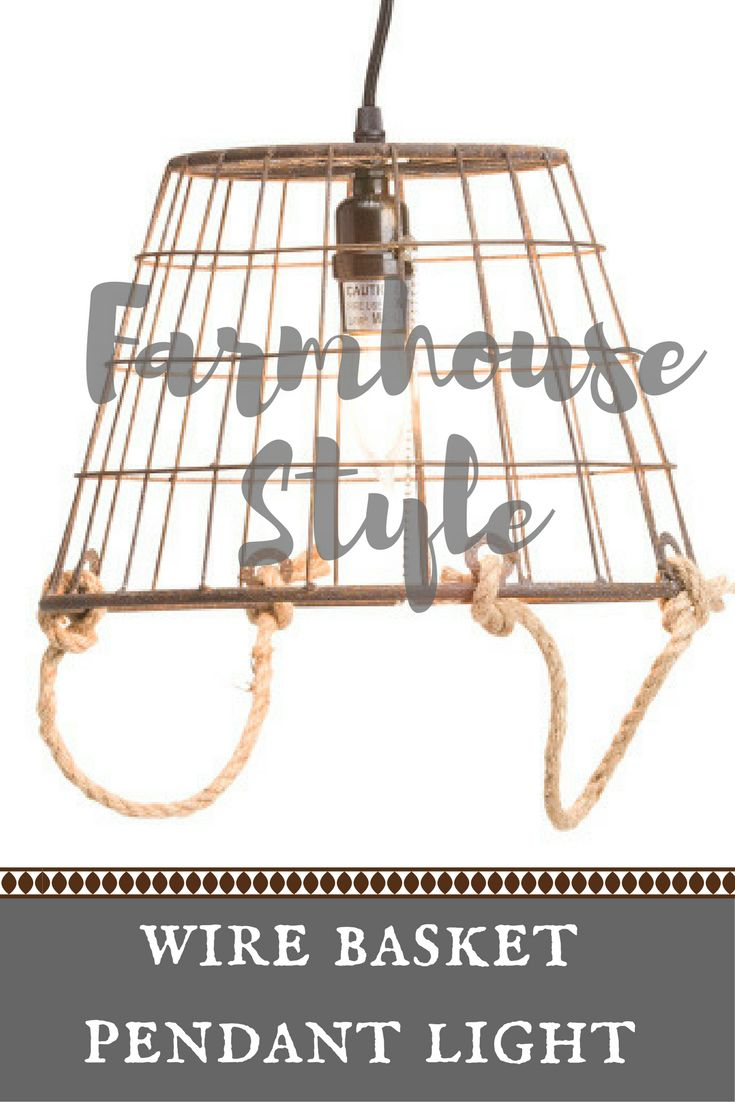 Small wire basket pendant light. In-line switch and pull cord, size: 12in diameter x 8.5in H, cord length: 15ft. Would be perfect for small areas that need a rustic touch. Farmhouse | Lighting | Rustic | #ad #tjmaxx