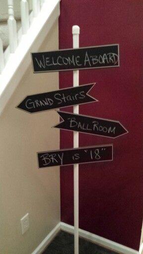 Party sign, cruise, Titanic theme.