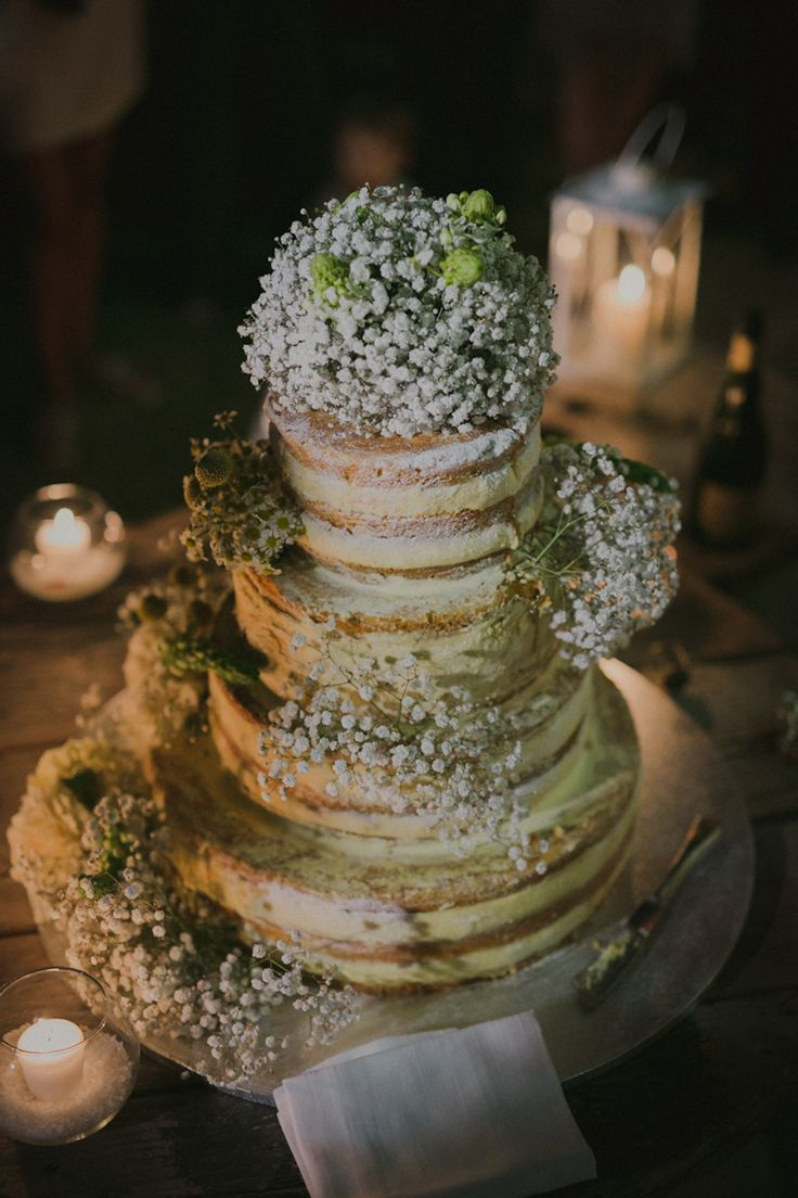 naked cake topped with gypsophila