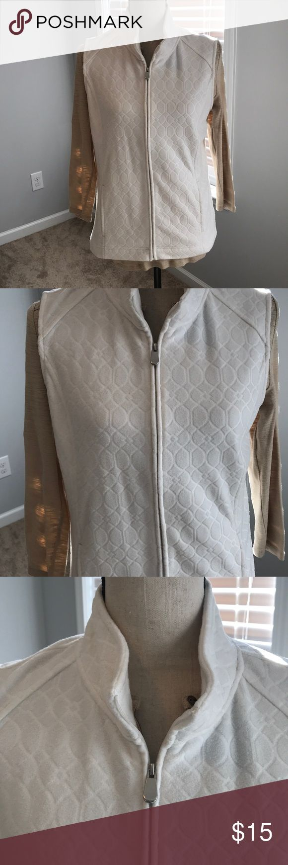 Cream printed fleece feel vest- never been worn! Cream vest with design petite vest! Never been worn, a small smudge in the back from storage , great to go with flannel and plain shirts! croft & barrow Jackets & Coats Vests