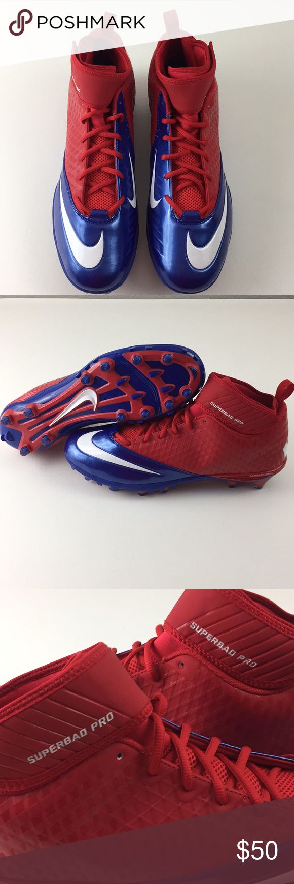 Nike Superbad Pro Cleats New! Nike Lunar Superbad Pro TD Football Cleats. Men's size 15. Red, blue and white. Nike 534994-604. Brand new, no box. Nike Shoes