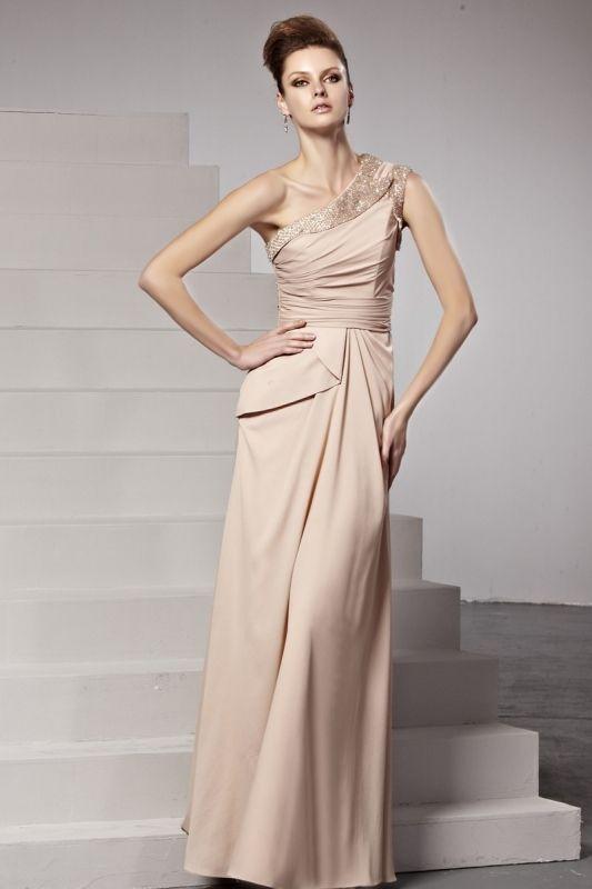 アプリコットカラー! ワンショルダー高級ロングドレス♪ - ロングドレス・パーティードレスはGN 演奏会や結婚式に大活躍!
