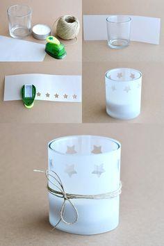 DIY étapes photophore de Noël avec papier calque