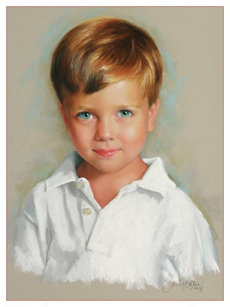 Pastel head and shoulder of 4 year old boy from Atlanta.. Sally Gates Potraits.