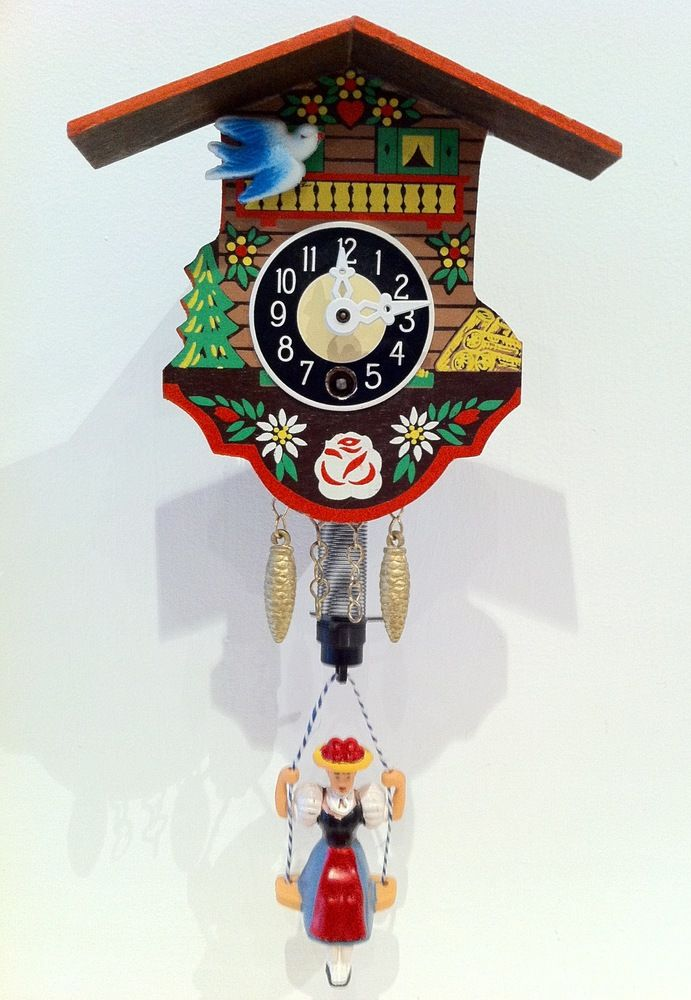I had one of these in my bedroom growing up that my dad brought back from Germany. And I never knew, years later, it would be described as a VINTAGE KITSCH CUCKOO CLOCK