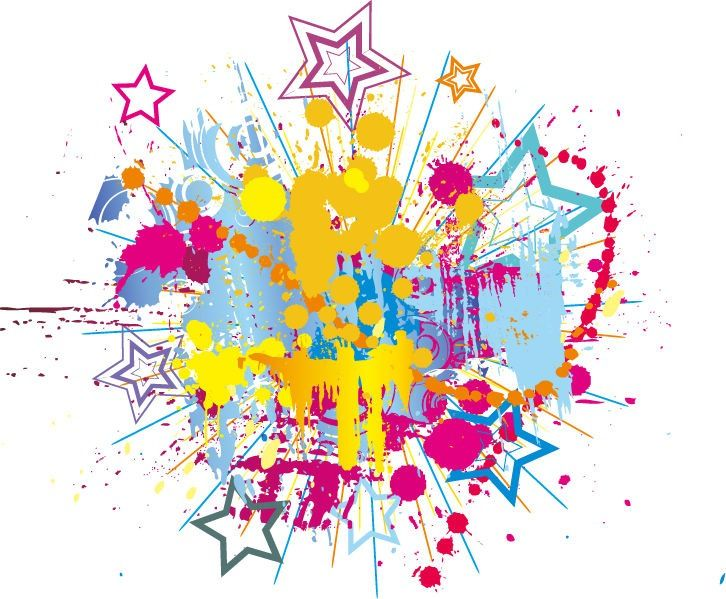 stars clipart background | Colorful Bright Ink Splashes with Stars Vector Background | Free ...