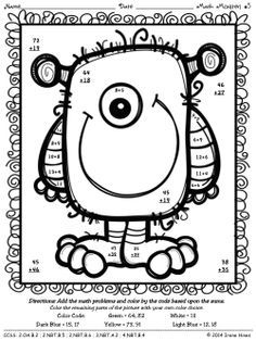 DoubleDigit Addition Coloring Worksheets Monsters