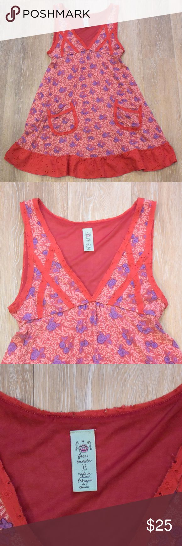 Free People Red Floral Jersey Dress XS Super sweet red floral print on this free people dress. sz XS. jersey is my favedress fabric! red eyelet cotton trim. 90% lyocell, 10% spandex. there is a bit of wash wear/fading, but still lots of life left! good shape with no stains, rips or holes  I consider all offers & love to bundle! Check out my (ever-growing) closet! Free People Dresses