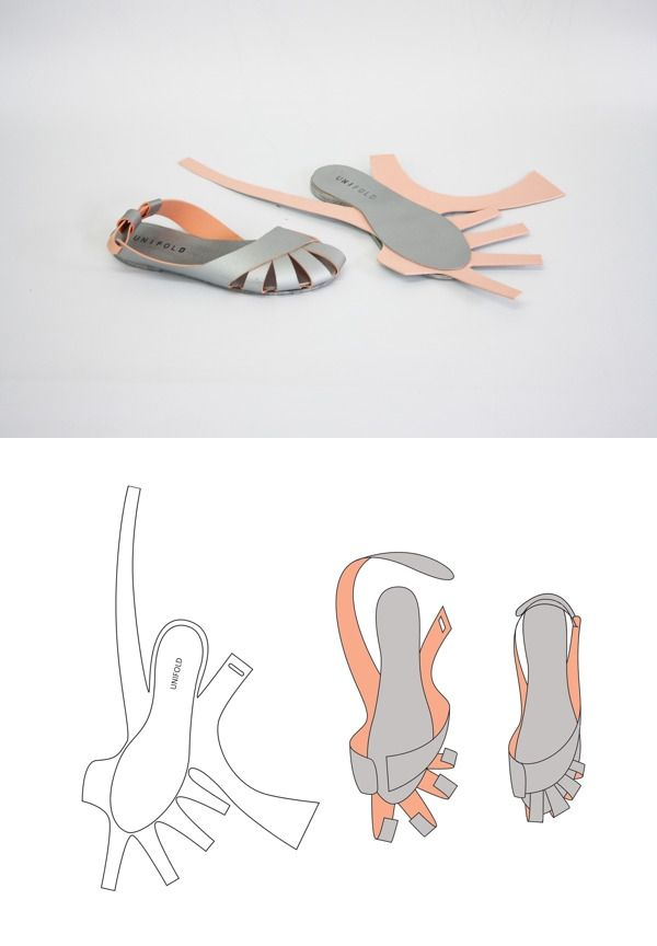 UNIFOLD is an experimental project with Professor Crowley that explores ways to construct footwear with a one-piece die cut pattern