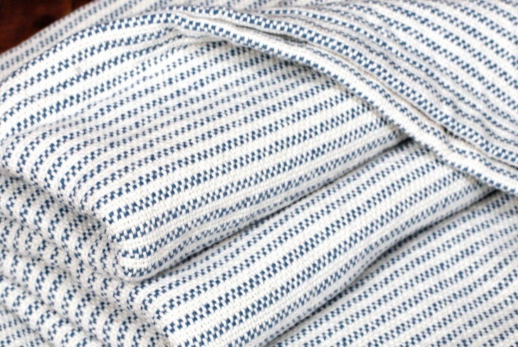 Traditional Ticking Stripe Blanket - Indigo