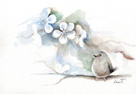 Madárfióka, Dekoráció, Otthon, lakberendezés, Képzőművészet , Kép, Kedves, egyedi vegyes technikával készült képek madarakról. Méretük változó és mindegyik a..., Meska