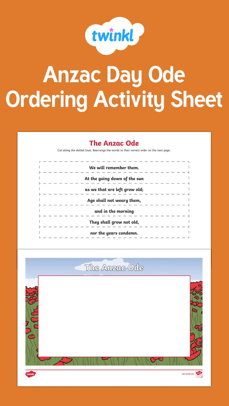 A useful activity sheet for children to order the Anzac Ode. It is great to consolidate their knowledge and understanding.
