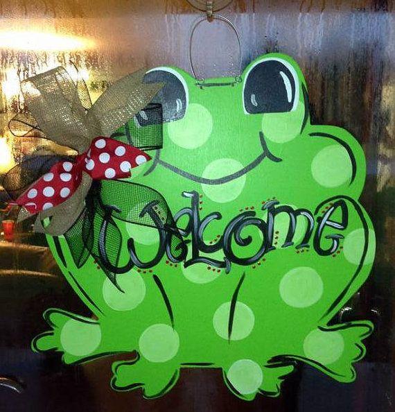 Frog Door Hanger by WhimsyGirlArt on Etsy, $35.00