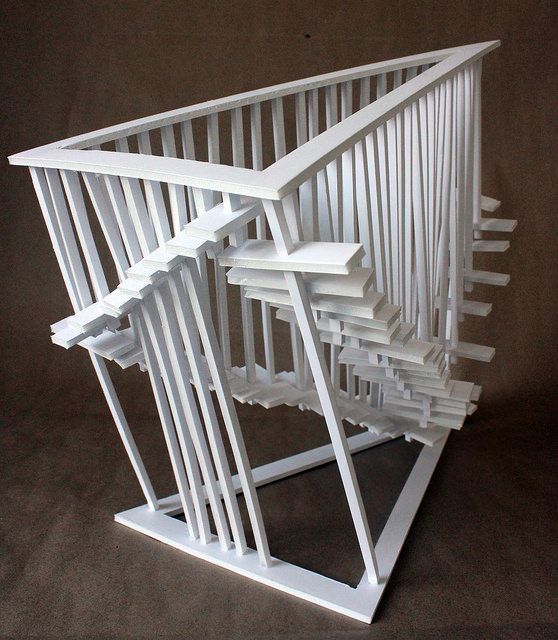 Clara Lieu, RISD Pre-College Design Foundations, Staircase Sculpture Assignment, foam board & hot glue, 2014
