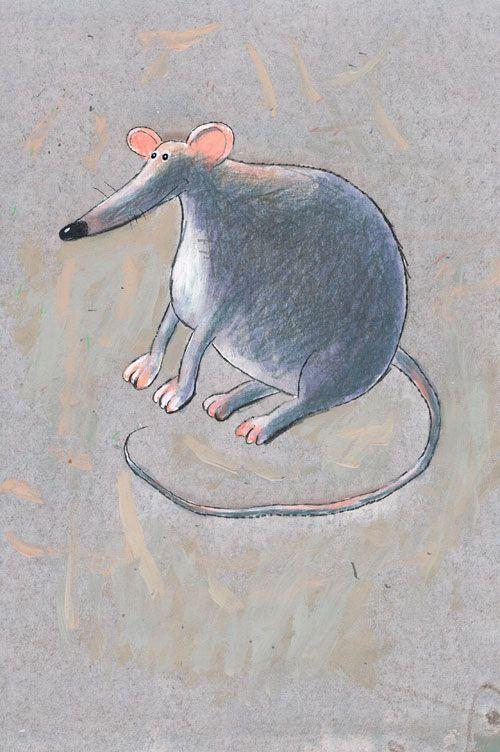 Titel: thema- Dieren rond de woning - Rat  Kunstenaar: Aleksandr Vakhrmeev  Afm.: 20 br. x 28 cm hg.   Techniek: waterverf op papier. Uit de collectie van Postersquare