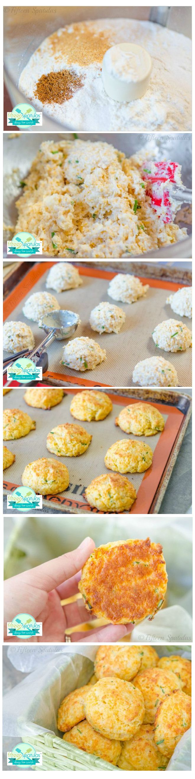 @Fifteen Spatulas | Joanne Ozug likes her cheddar biscuits from scratch. #stepbystep #biscuits #cheddar