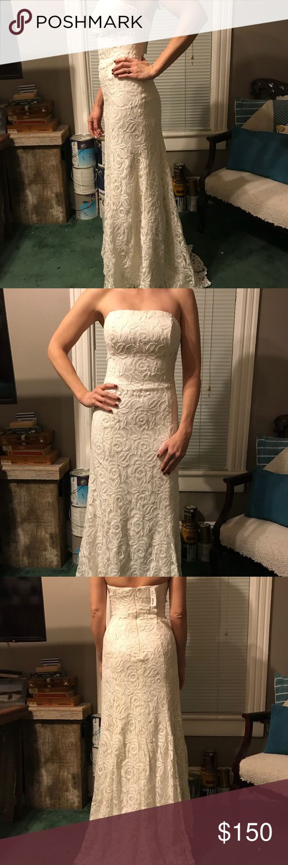 """NWT ivory wedding dress sample sale NYC Lace overlay, lined with boning Invisible zipper in back. A beautiful dress in person. It was a little short for me, and an impulse buy at a sample sale in New York City:) I am 5'9"""" and it doesn't quite graze the floor standing without shoes on(see photo). It is also a little narrow through the hips which is why it bunch's on me slightly through the midsection . After Six Dresses Wedding"""