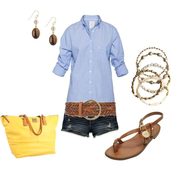 love the blue oxford, belt, shoes and purse... shorts are a little