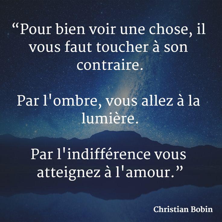"""""""Pour bien voir une chose, il vous faut toucher à son contraire. Par l'ombre, vous allez à la lumière. Par l'indifférence vous atteignez à l'amour."""" (Christian Bobin) #citation #ombre #amour"""