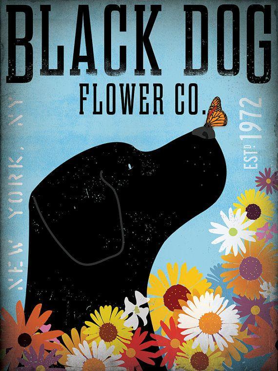Labrador retriever flower company original graphic illustration on canvas 12 x 16 by stephen fowler via Etsy