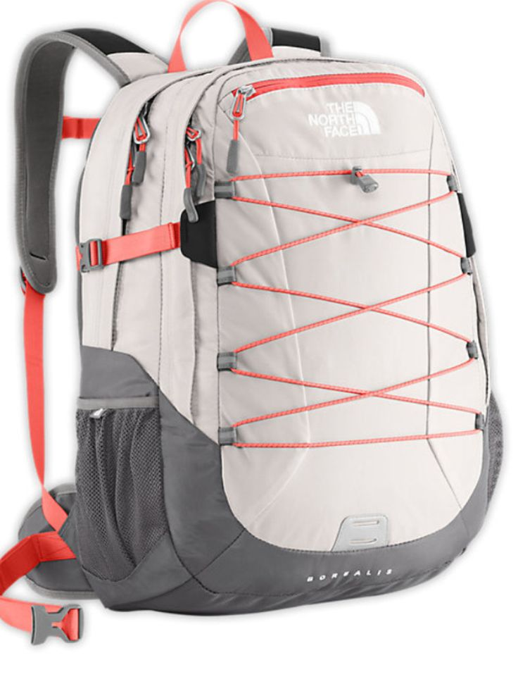 White and orange north face backpack Back to school