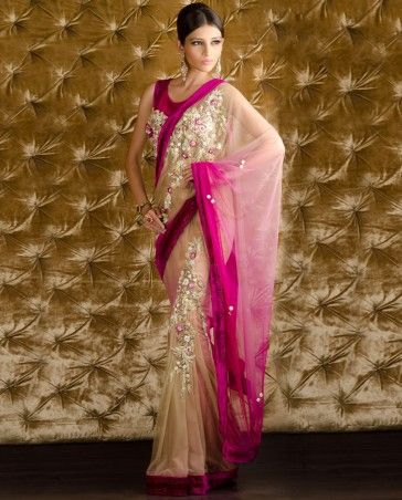 Kisneel by PAM MEHTA Nude and Fuchsia Saree with Velvet Border and Beaded Blouse $1,080